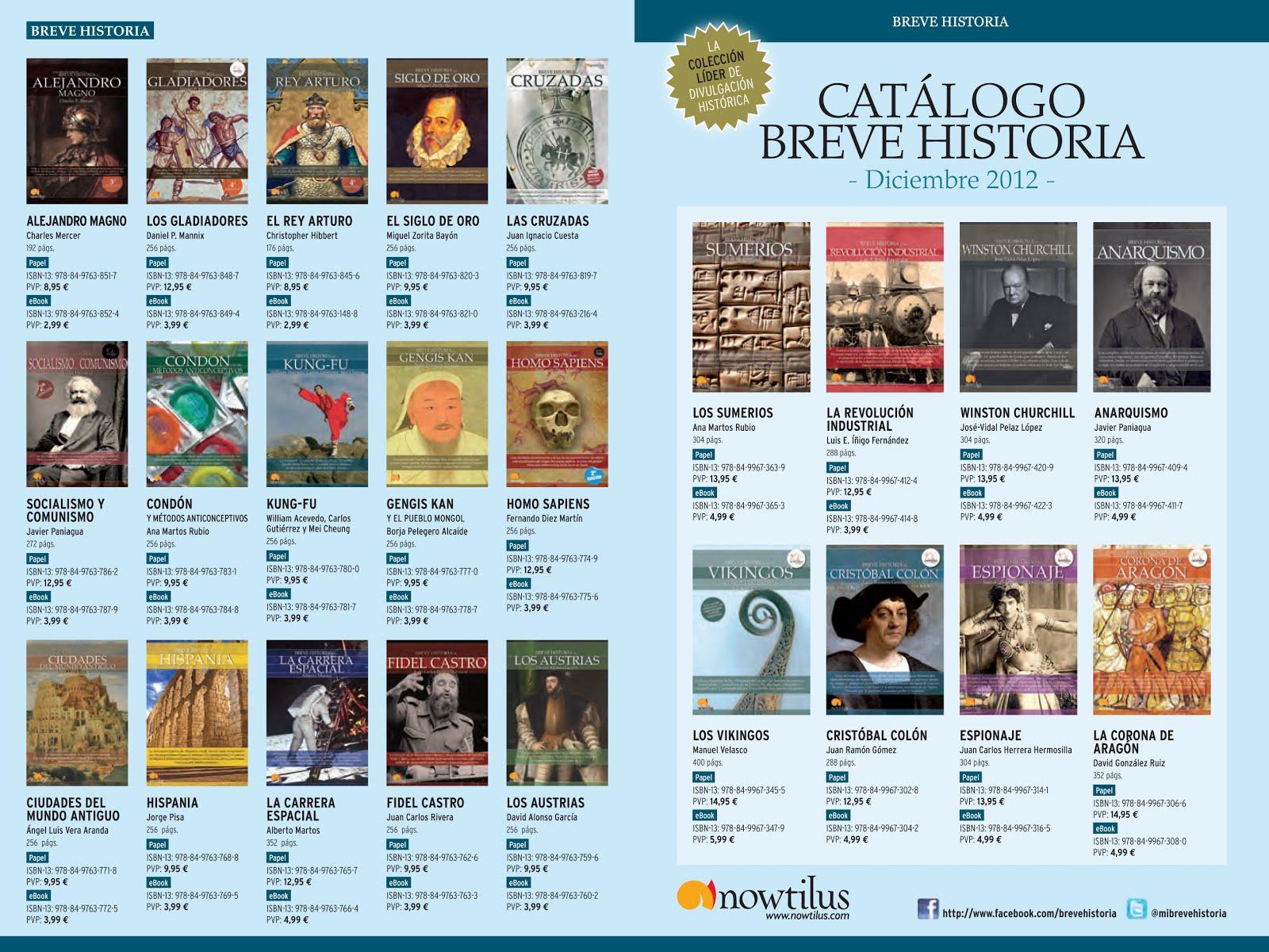 Algunos libros de la «Colección Breve Historia» - Editorial Nowtilus, de divulgación histórica - Formato epub y algunos en pdf CatalogoBreveHistoriaDiciembre2012%2B1