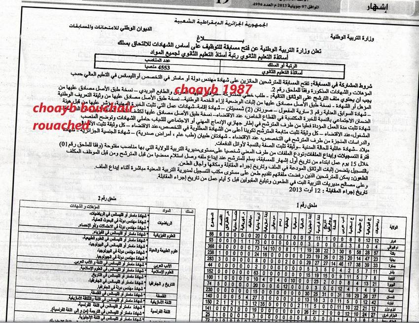 اعلان مسابقة وزارة التربية الوطنية لتوظيف أساتذة التعليم الثانوي جويلية 2013 1