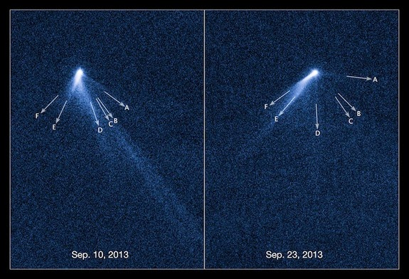 Bizarre Asteroid with Six Tails Spotted by Hubble Telescope  Hubble-asteroid-tails-label