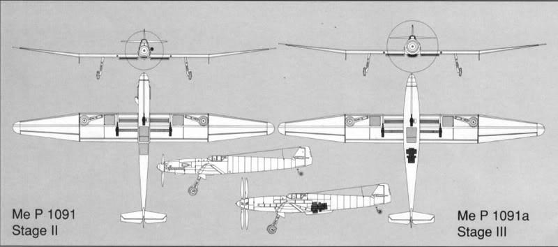Luftwaffe 46 et autres projets de l'axe à toutes les échelles(Bf 109 G10 erla luft46). - Page 2 Three%2Bviews%2Bof%2Bthe%2BP.1091%2Bproject%2Bwith%2Btwo%2Bdifferent%2Bstages%2Bor%2BStuffe