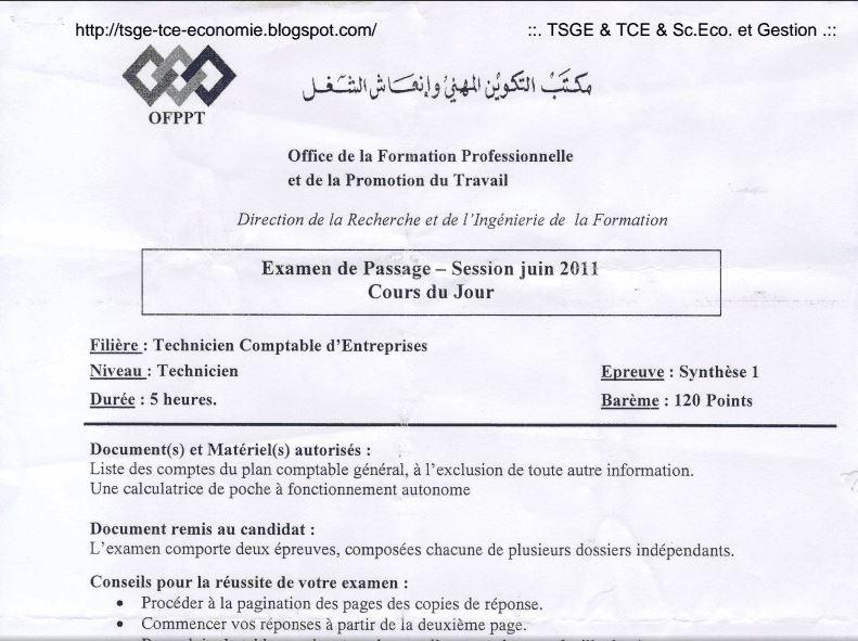 Examen de Passage TCE 2011 Synthèse1  A4