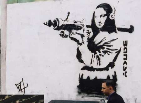 'Banksy' art depicting civil guards kissing appears in Franco's hometown Banksy01