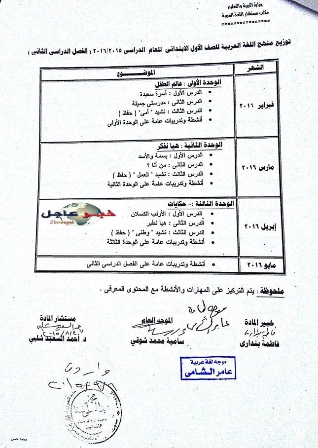 """لغة عربية: بالصور توزيع مناهج 2016 للصفوف الابتدائية """"من الاول للسادس الابتدائي"""" 1"""