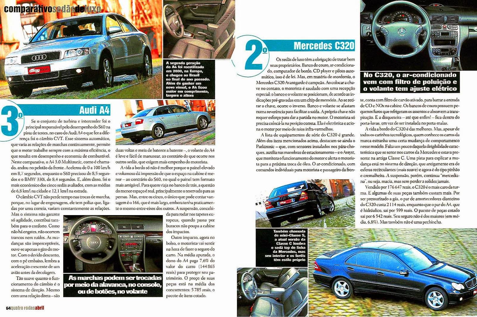 (W203): Avaliação - Revista Quatro Rodas - C320 x BMW 330i x Audi A4 x Volvo S60 T5 x Alfa Romeo 166 - abril/2002 501%2C065%2C42%2C04%2CTE