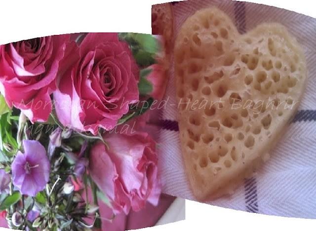 بْغْريرْ قْلْبْ/Baghrir Marocain sous forme de Coeur/Pancakes Marocains/Crêpes Marocaines aux mille trous sous forme de coeur - Bon 3id Al Hob à tout le monde! Coeur
