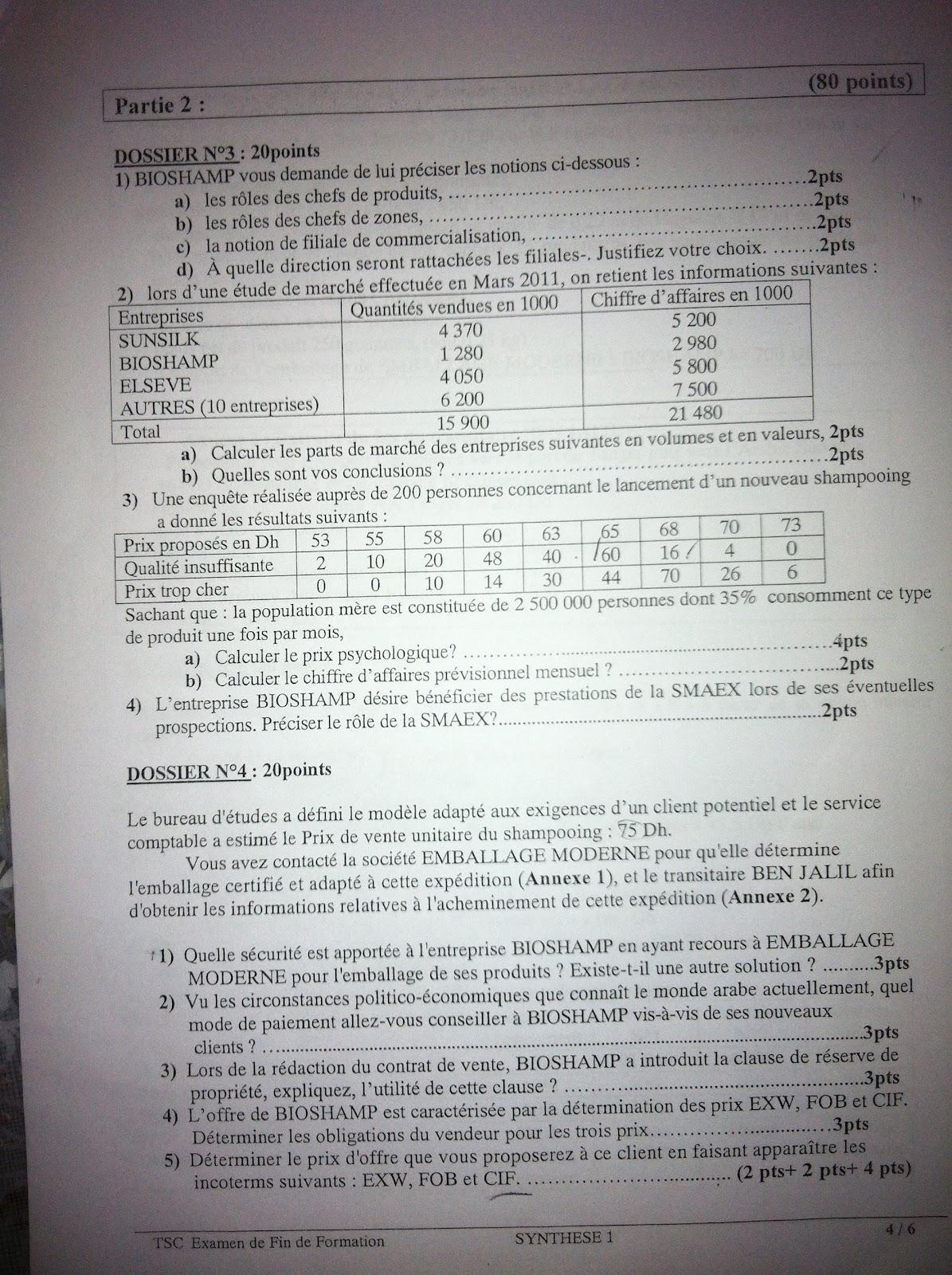 Examen de Fin de Formation Synthèse 2011 TSC 4