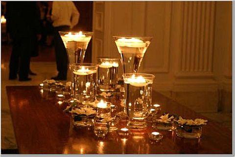 Svece  u svim varijantama Wedding-candle-centerpiece