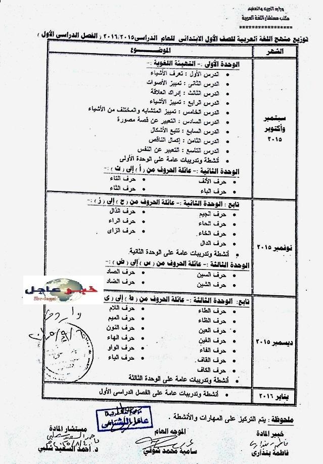"""لغة عربية: بالصور توزيع مناهج 2016 للصفوف الابتدائية """"من الاول للسادس الابتدائي"""" 111"""