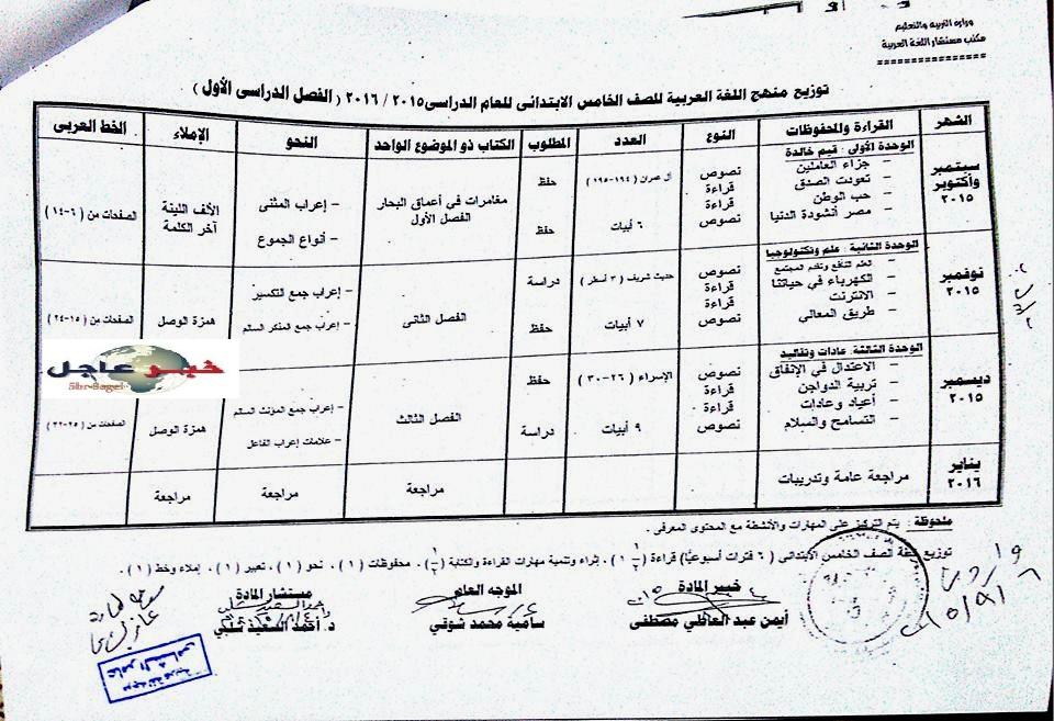 """لغة عربية: بالصور توزيع مناهج 2016 للصفوف الابتدائية """"من الاول للسادس الابتدائي"""" 8"""