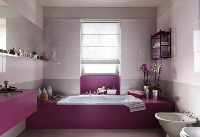 حمامات مجموعة تصميمات جذابة جداً  Purple-white-feminine-bathroom-design-665x456