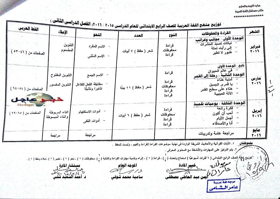 """لغة عربية: بالصور توزيع مناهج 2016 للصفوف الابتدائية """"من الاول للسادس الابتدائي"""" 7"""