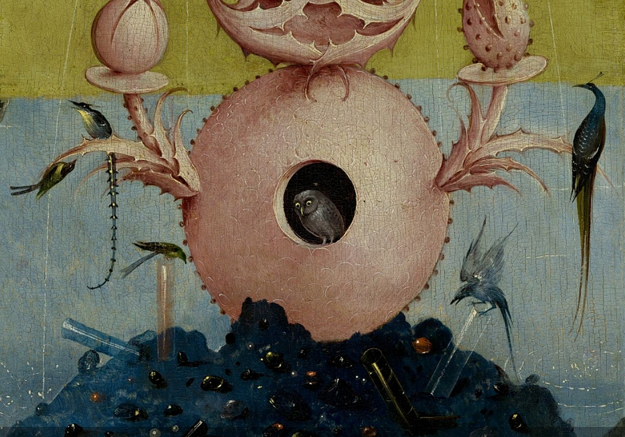 Con que me sorprendes hoy??? 1280px-Bosch%252C_Hieronymus_-_The_Garden_of_Earthly_Delights%252C_left_panel_-_Detail_Fountain_Of_Life_with_owl_%2528center%2529