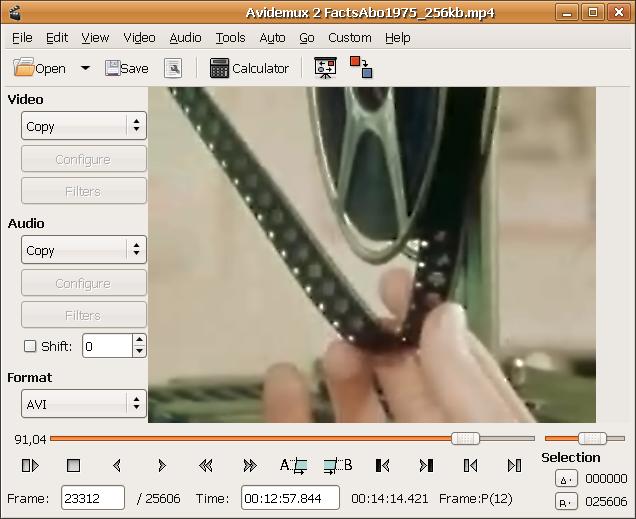 برنامج التلاعب بالصوت والفيديو Avidemux Screenshot1