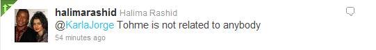 Halima denied being niece Tohme Tweet4