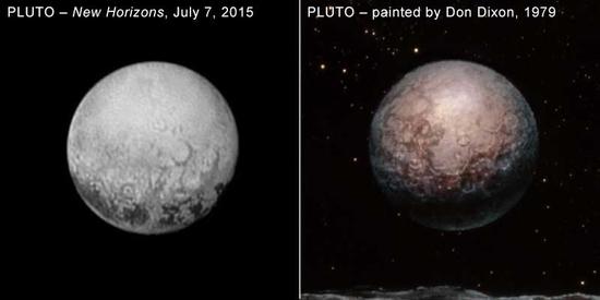 Pluto News NASA info New-horizons-pluto-20150715-dixon-painting-compared