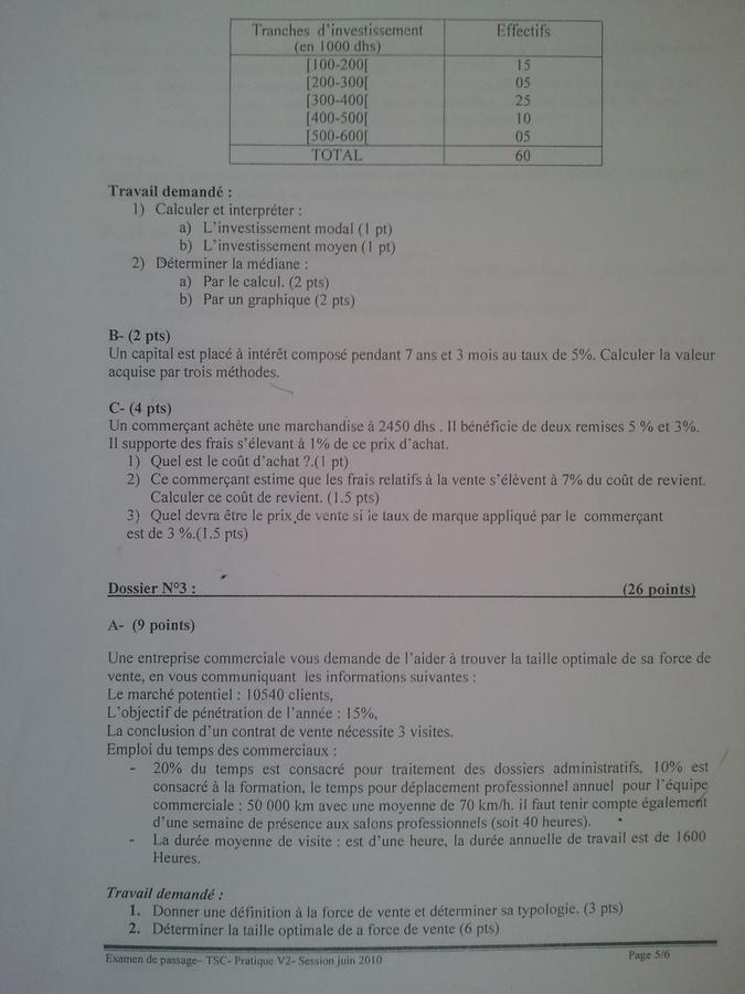 Examen de Passage TSC Pratique et Théorique 2010 04
