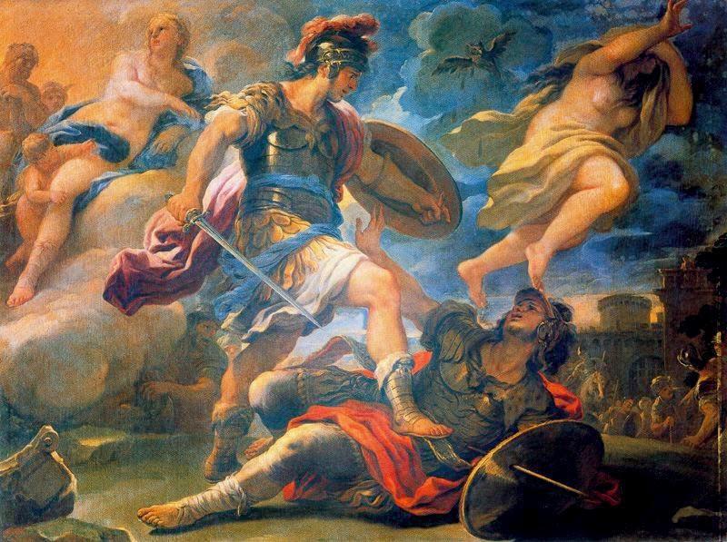 Eneas, el superviviente de la Guerra de Troya. Aeneas_and_Turnus