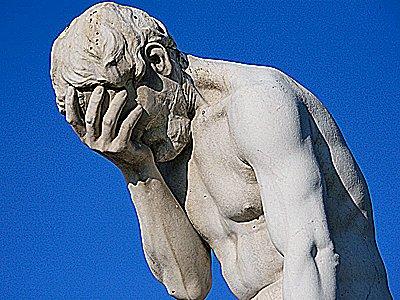"""""""Svetsaren """" i Vitta Huset idag, nu kommer skämskudden fram... Statue-head-in-hand-embarrassed"""
