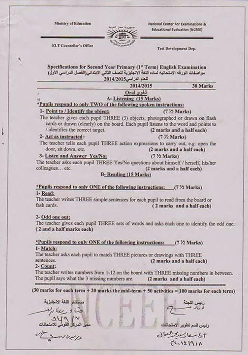 نشر مواصفات الورقة الامتحانية لمنهج Time For English ثانى ابتدائى ترم اول 2015 2