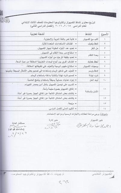 توزيع محتوى نشاط الكمبيوتر وتكنولوجيا المعلومات للصف الثالث الابتدائى 2019  Scan0016