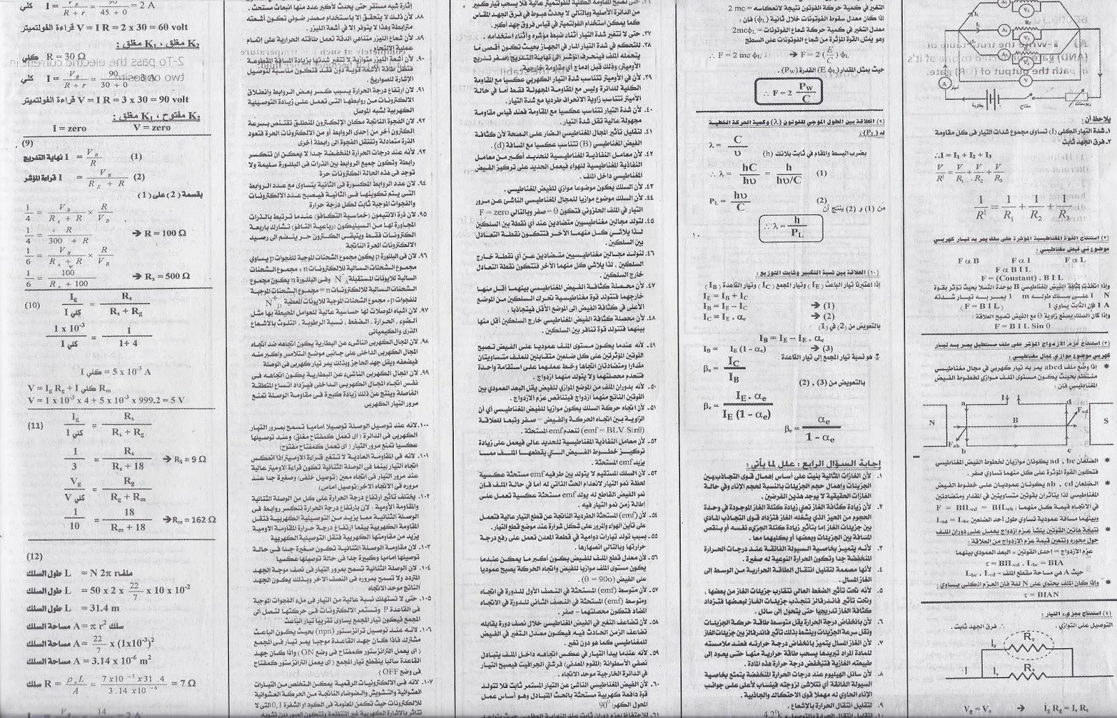 الليلة الثالثة_مراجعة ليلة الامتحان في الفيزياء لثالثة ثانوى_ملحق الجمهورية الجمعة 12 /6/2015 Scan0007