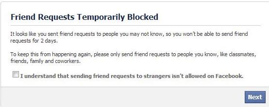 طريقة فك الحظر على حسابك فى الفيس بوك وكيفية تجنب الحظر Friend-requests-temporarily-blocked