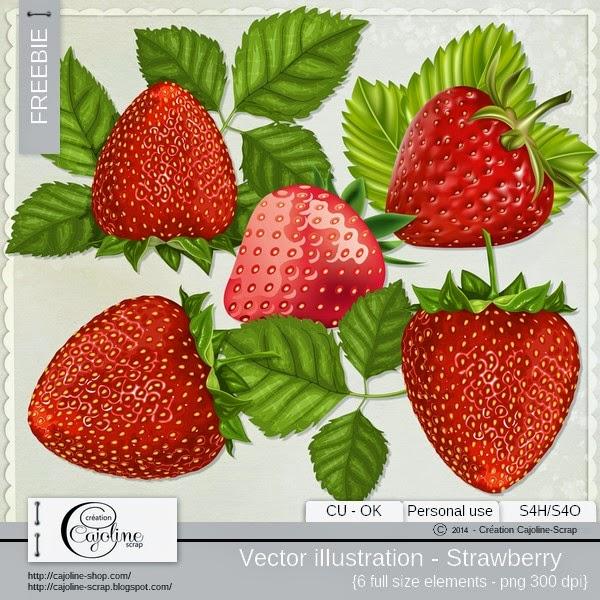 Freebie - Vector illustration strawberry CU Cajoline_vi_fraises_cu