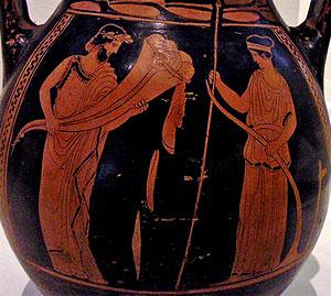 El uso del cuerno en las recreaciones Greek-cornucopia