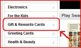 How to order an Amazon Gift Card on Swagbucks Section