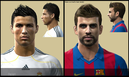 Pes 2010 - Ronaldo & Pique Faces Preview