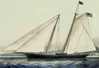 Voilier, goélette. - Page 2 Yacht_America_by_Currier_and_Ives_1851_Americas_Cup