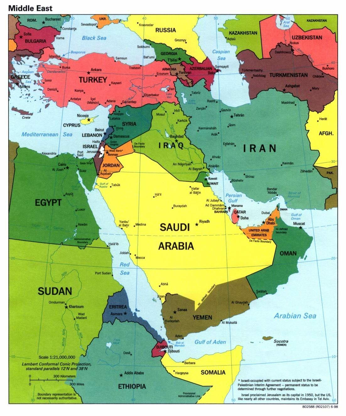 USA - Irán Mapa-medio-oriente