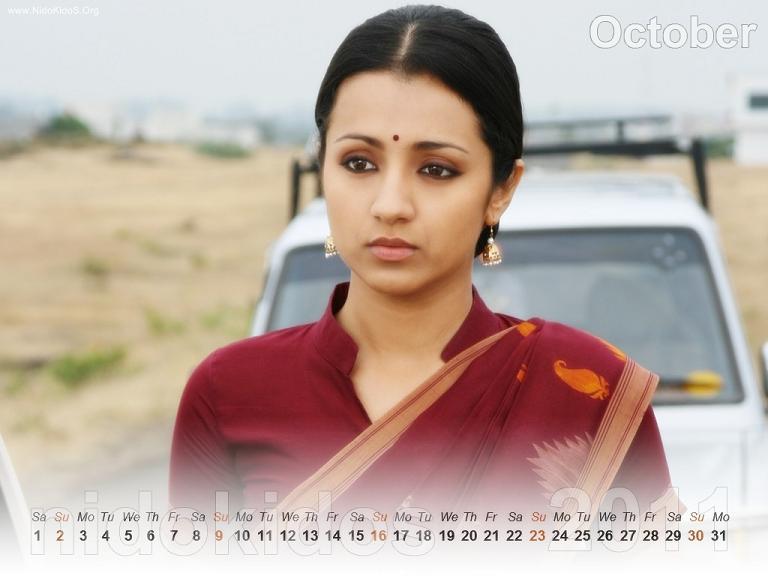 Trisha Krishnan Trisha-New-Year-Calendar-2011-Desktop-Calendar-October