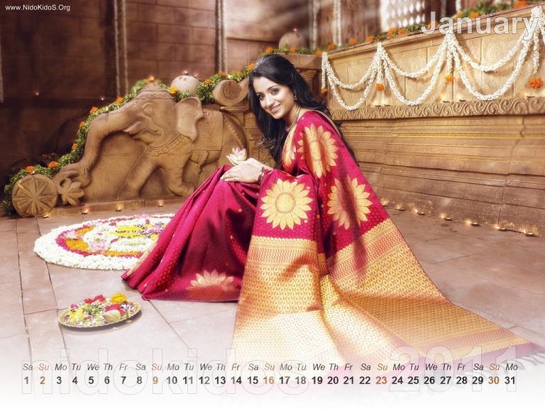Trisha Krishnan Trisha-New-Year-Calendar-2011-Desktop-Calendar-January