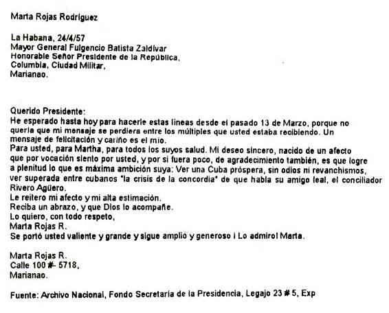 Verdades del Ataque al Palacio Presidencial el 13 de Marzo de 1957 MartaRojasCarta