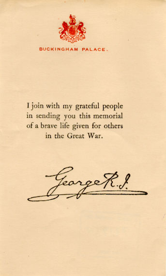 Kings Death Letter WW1 DeadMansPennyRoyalLetter