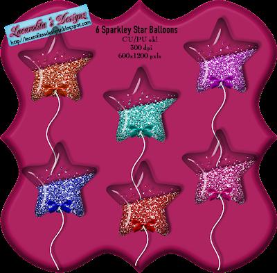 6 Sparkley Star Balloons (Lacarolita) Preview