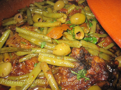 Moroccan Soussi Tajine of Lamb with Green Beans and Olives / Tajine Soussi marocain d'agneau aux haricots verts et olives 1-tajineloubya