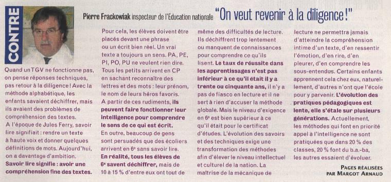 Éveline Charmeux : Non, déchiffrer n'est pas lire (Café pédagogique, 5/09/2014) Frackowiak