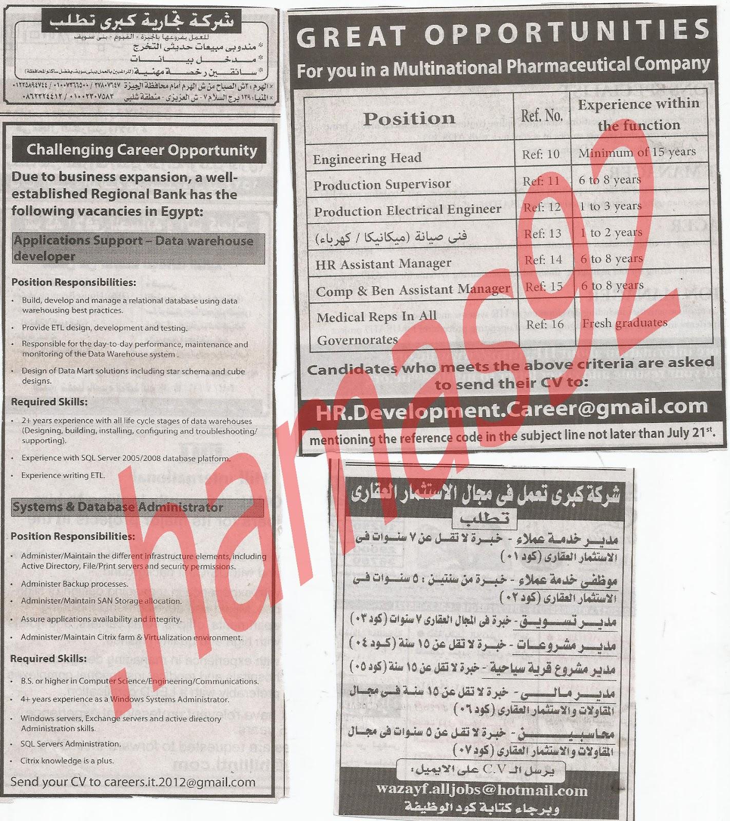 اعلانات وظائف جريدة الاهرام الجمعة 13/7/2012 كاملة - الاهرام الاسبوعى 2