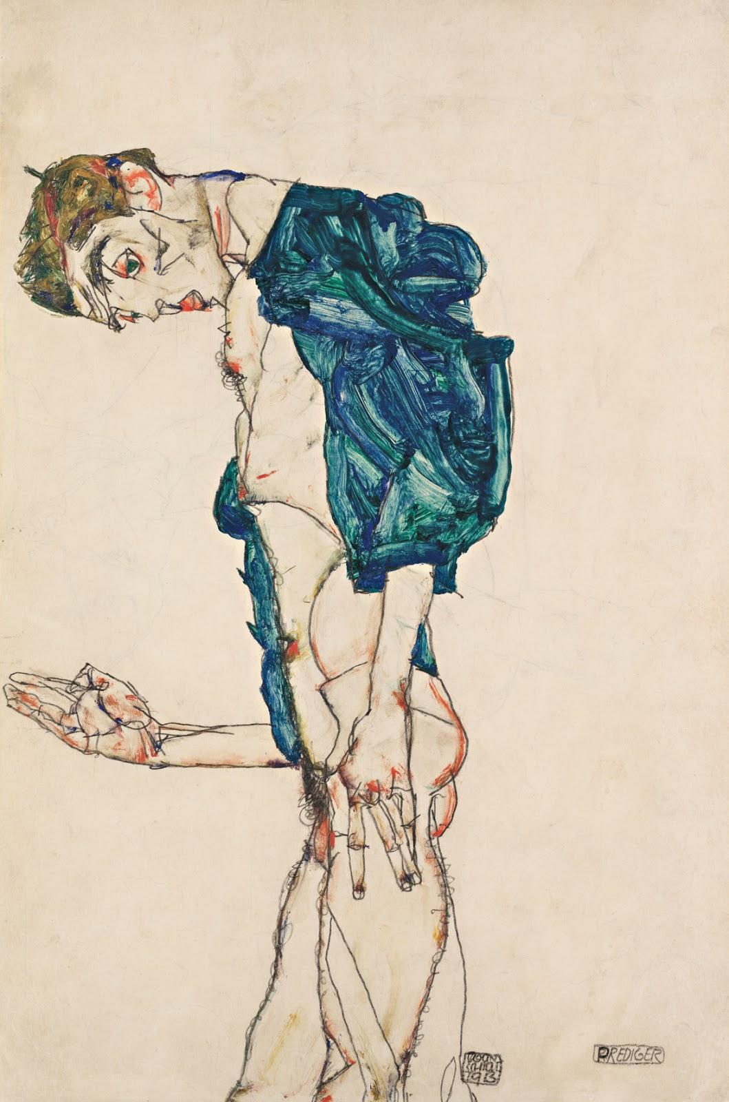 Egon Schiele [peintre] 1386_NACKTE_MAeNNER_Egon_Schiele_Prediger_Selbstakt_mit_blaugruenem_Hemd_1913