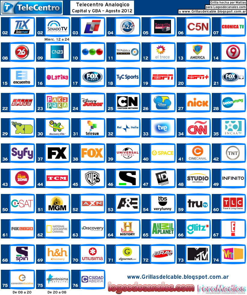 Guía de canales TeleCentro Agosto 2012 Agosto