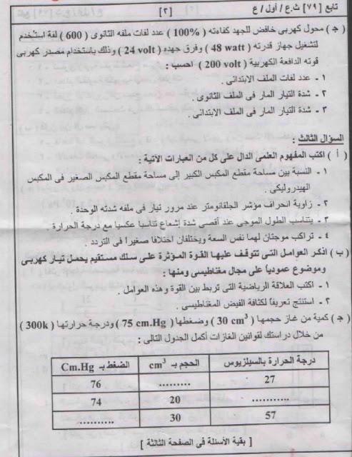 امتحان مادة الفيزياء للصف الثالث الثانوي 2011 2