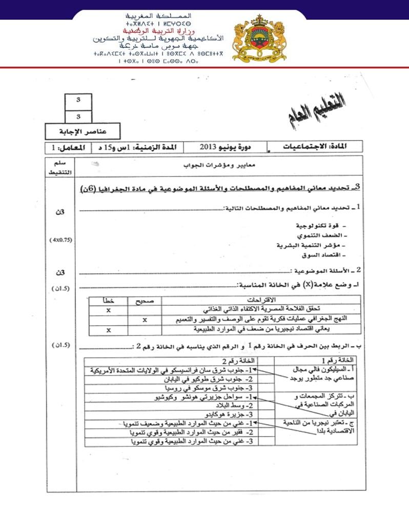 نموذج لإمتحان نيل شهادة السلك إعدادي مادة الاجتماعيات مع التصحيح جهة سوس ماسة درعة 2013 Tashihhg3