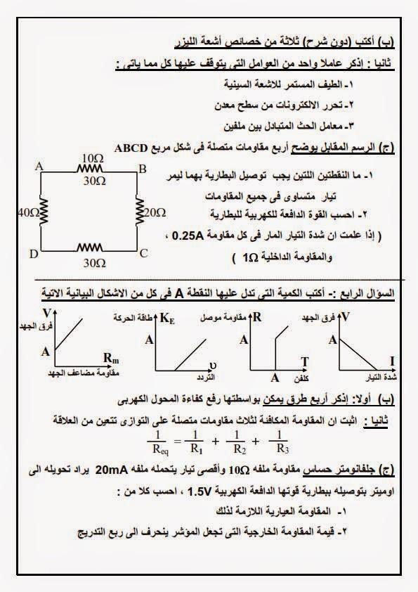امتحان فيزياء 3 ثانوى السودان 2015  11138547_755865351200817_875046809847025749_n