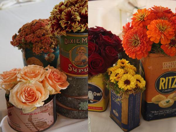 Жестяные банки в интерьере Vintage-tea-cans-wedding-centerpieces-idea3