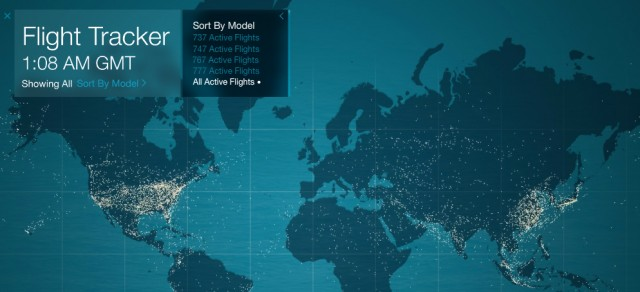 Veja quantos Boeings estão voando, voçe pode escolher até o modelo FlightTracker