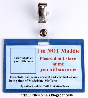 British holidaymakers can help in the hunt for Madeleine, says Kate McCann Sunday Express 2/6/13 ImNotMaddieBadge