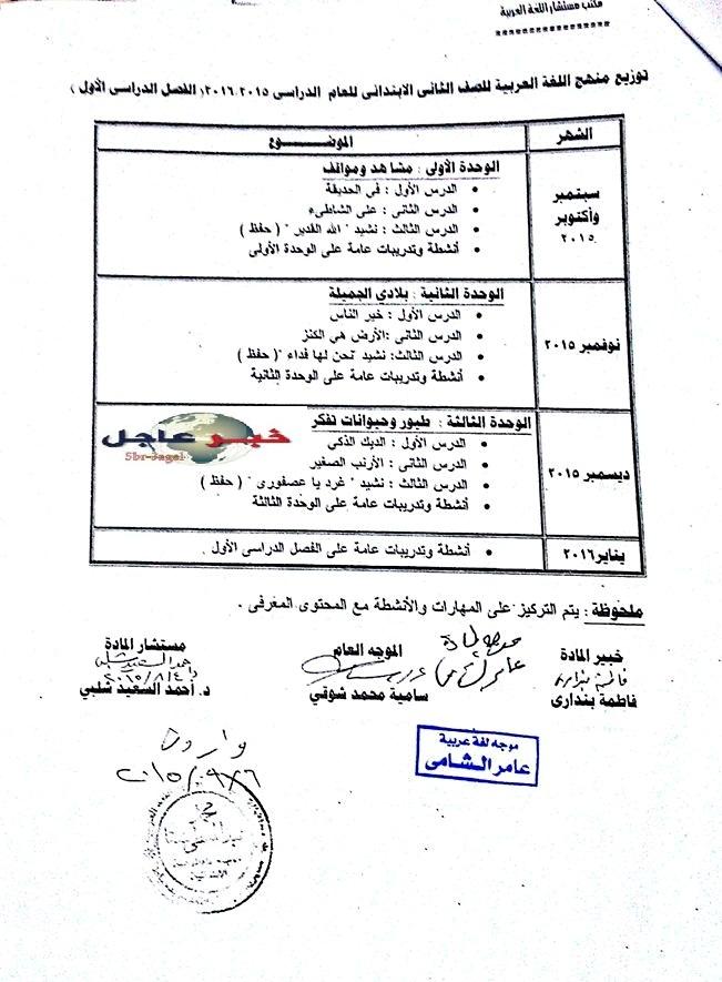 """لغة عربية: بالصور توزيع مناهج 2016 للصفوف الابتدائية """"من الاول للسادس الابتدائي"""" 2"""