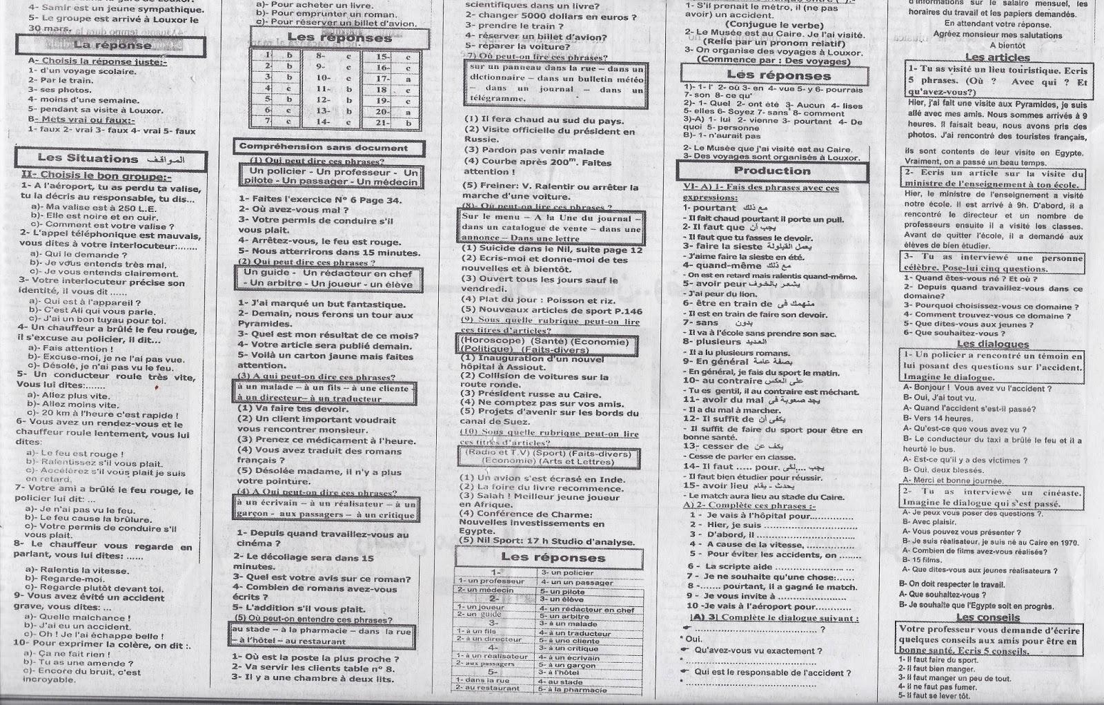 اهم توقعات لغة فرنسية اعدها نخبة من خبراء الامتحانات وصناعة الاوائل لامتحان الثانوية العامة 2015 نظام حديث 2